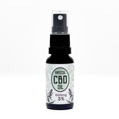 600mg 3% Bristol CBD Oil, 20ml Spray, Front Lid