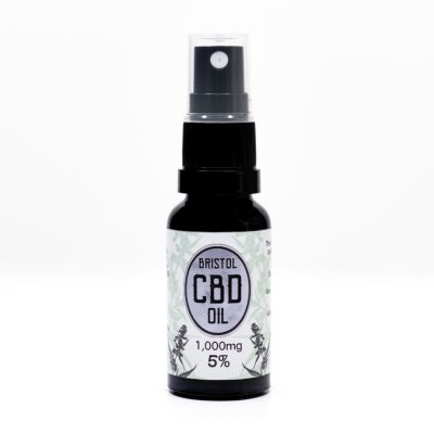 1000mg 5% Bristol CBD Oil, 20ml Spray, Front Lid