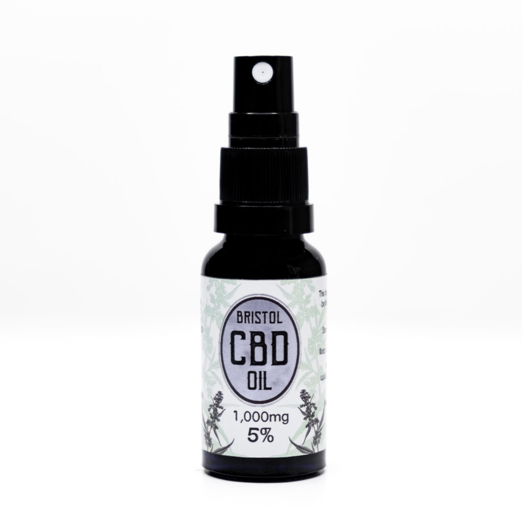 1000mg 5% Bristol CBD Oil, 20ml Spray, Front