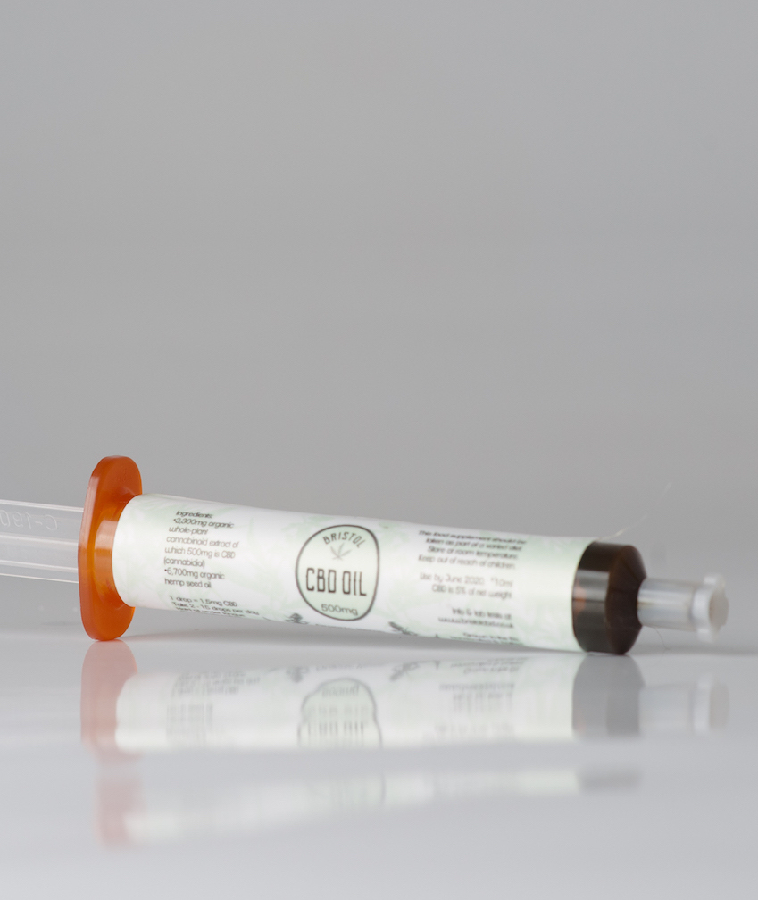 1500mg CBD in plastic syringe. CBD is 17% of net weight