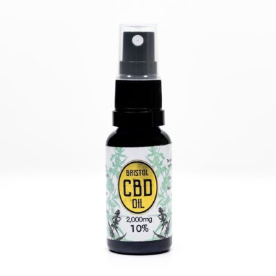 2000mg 10% Gold Bristol CBD Oil, 20ml Spray, Front Lid