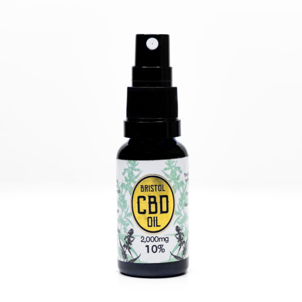 2000mg 10% Gold Bristol CBD Oil, 20ml Spray, Front